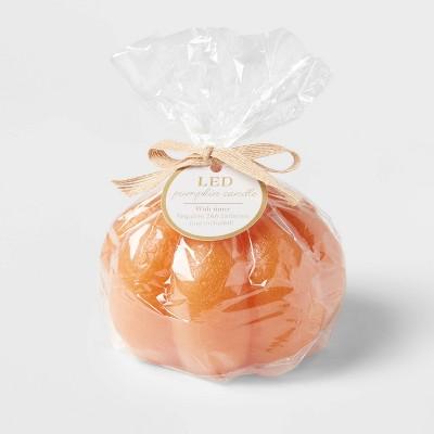 "3.75"" x 5"" Pumpkin Fall LED Candle Orange - Threshold™"