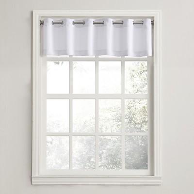 Montego Casual Textured Grommet Kitchen Curtain Valance White (56 x14 )- No. 918