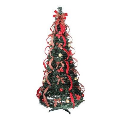 Northlight 6' Prelit Artificial Christmas Tree Gold and Red Plaid Pop-Up - Multicolor Lights