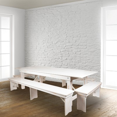 "Flash Furniture HERCULES Series 8' x 12"" Antique Rustic Solid White Pine Folding Farm Bench with 3 Legs"