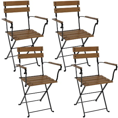 Sunnydaze Indoor/Outdoor Patio or Dining Basic European Chestnut Wooden Folding Bistro Arm Chair - Brown - 4pk