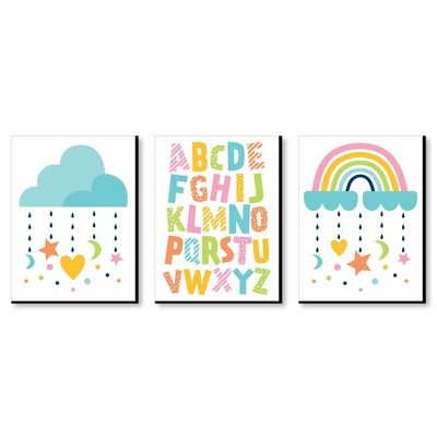 Big Dot of Happiness Colorful Children's Decor - Alphabet Nursery Wall Art and Rainbow Cloud Kids Room Decor - 7.5 x 10 inches - Set of 3 Prints