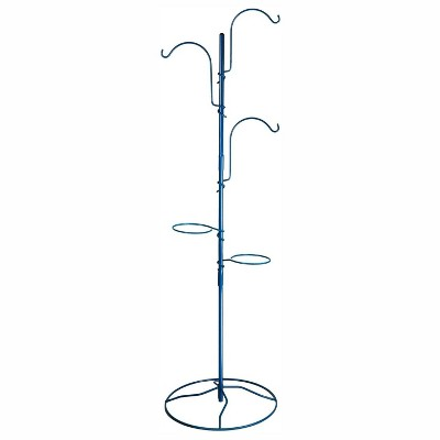 Yard Butler IYT-5BLU Indoor Outdoor 84 Inch Tall Gardening Yard Tree with 3 Shepherds Hooks and 2 Flower Pot Rings for 7 Inch Planters, Blue