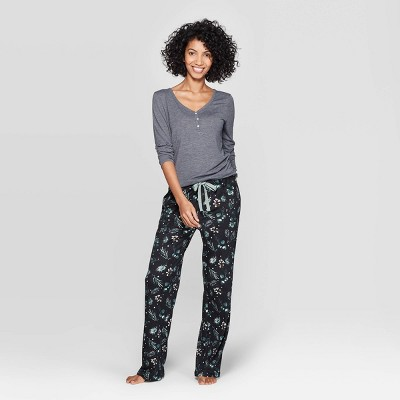 Women's Floral Print Henley Sleep Pajama Set - Stars Above™ Charcoal S