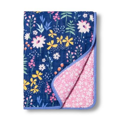 Muslin Quilt Blanket Wildflower - Cloud Island™ Blue - image 1 of 2