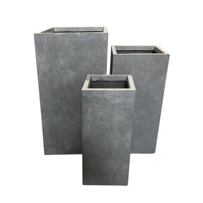 Set of 3 Kante Lightweight Outdoor Tapered Rectangular Concrete Planters Slate Gray - Rosemead Home & Garden, Inc.