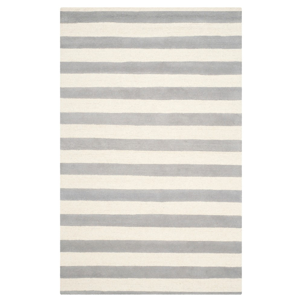 6'X9' Stripe Area Rug Gray/Ivory - Safavieh