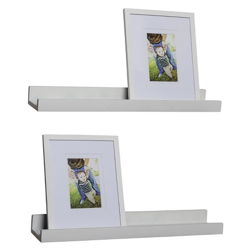 Set of 2 Ledge shelves with 2 Photo Frames - White : Target