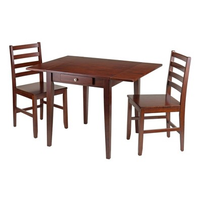3pc Hamilton Drop Leaf Dining Table with Ladder Back Chairs Wood/Walnut - Winsome