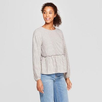 3090774bc9 Womens Long Sleeve Striped Flannel Peplum Blouse – Universal Thread ...