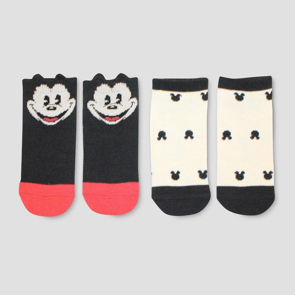Junk Food Boys' Disney Mickey Mouse 2pk Socks - Black/Ivory S