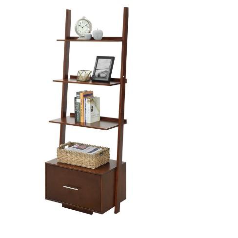 dc54361aef American Heritage Bookshelf Ladder with Drawer Espresso 69