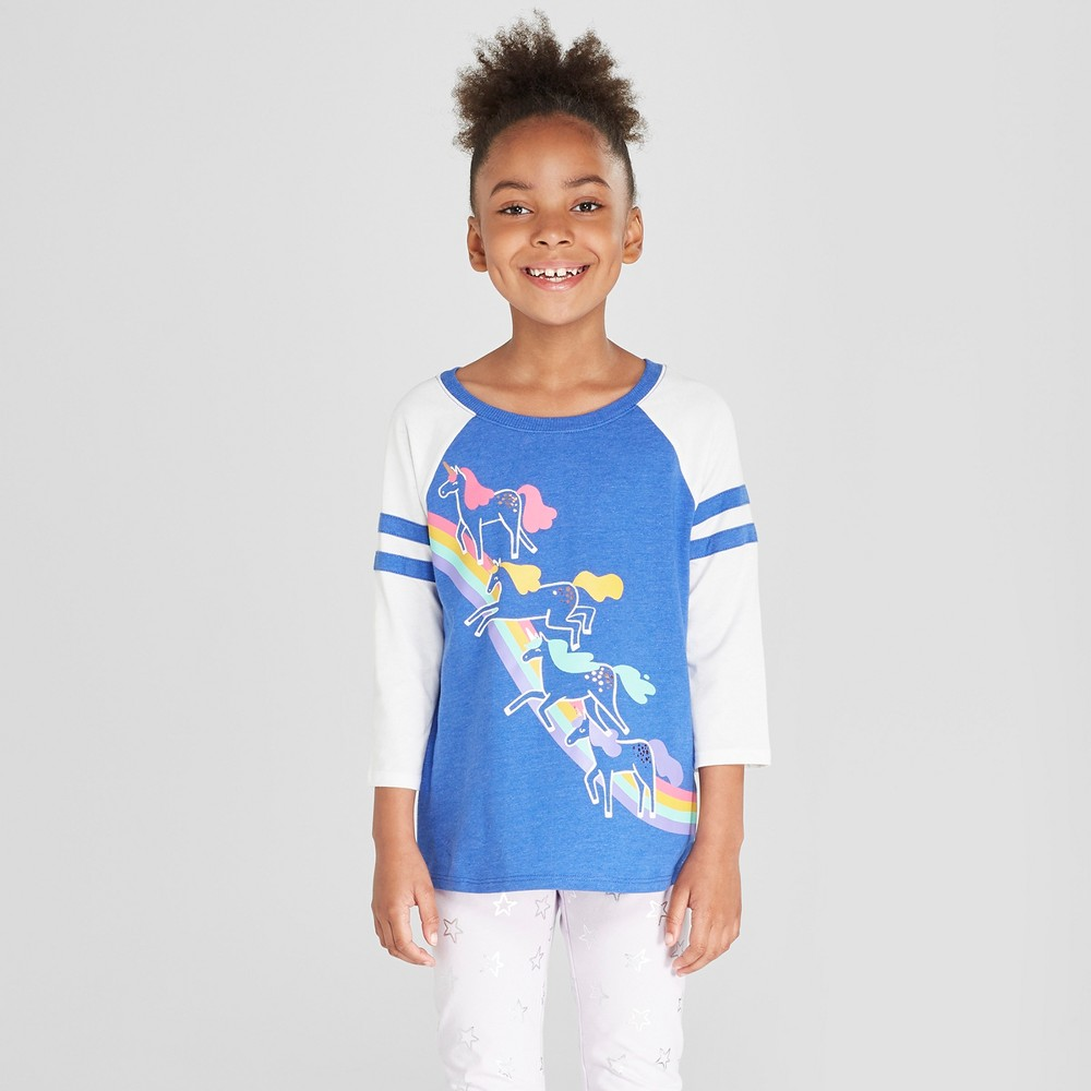 Girls' Unicorn Baseball 3/4 Sleeve T-Shirt - Cat & Jack Blue XL