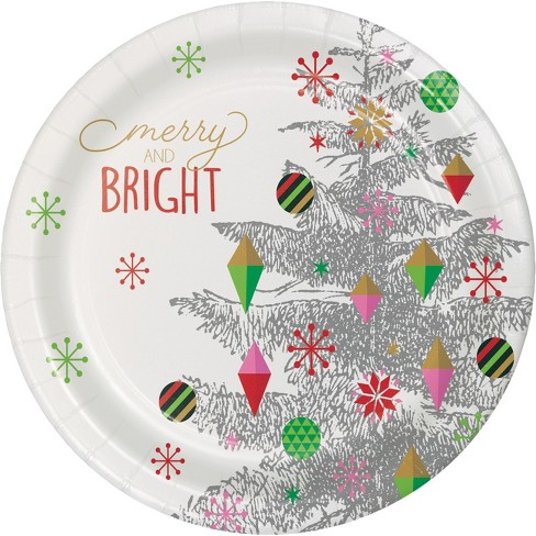 Christmas Paper Plates.Bright Christmas Tree Paper Plates