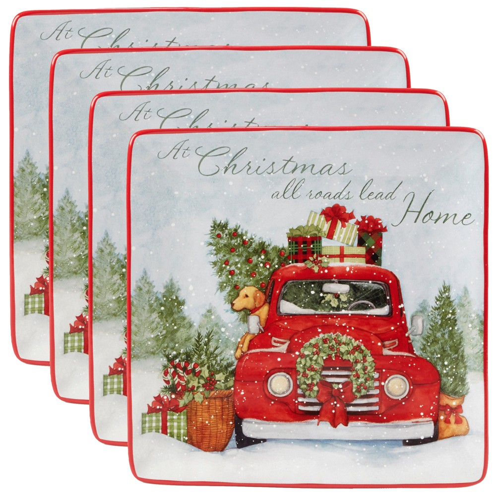 "Image of ""10.5"""" 4pk Home For Christmas Square Ceramic Dinner Plates - Certified International, White Red"""