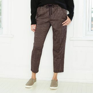 Women's High-Rise Plaid Ankle Length Pull-On Pants - A New Day™ Brown M