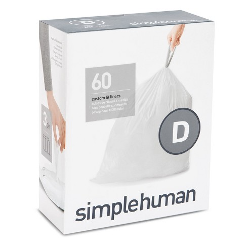 simplehuman 20L 60ct Code D Custom Fit Trash Can Liner White - image 1 of 4