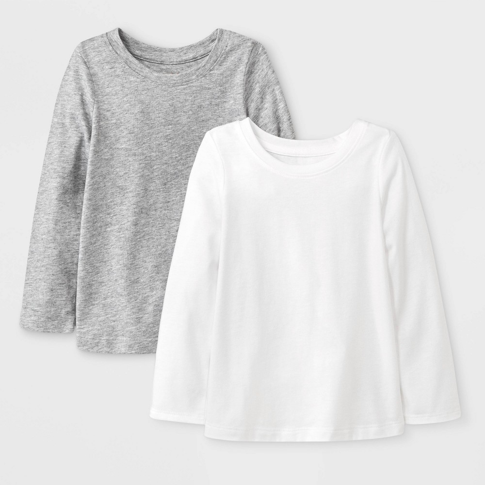 Toddler Girls' 2pk Long Sleeve Solid T-Shirt - Cat & Jack White/Gray 12M