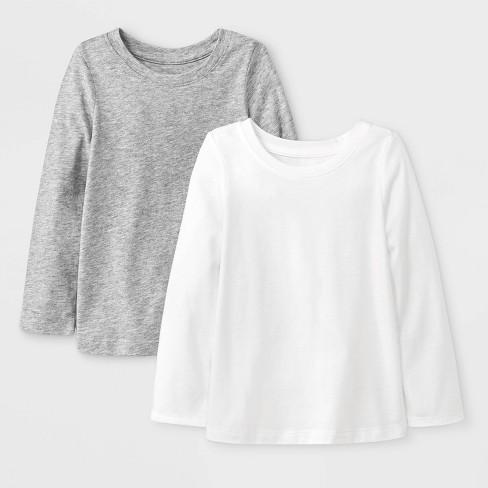 d7274eb25 Toddler Girls  2pk Long Sleeve Solid T-Shirt - Cat   Jack™ White Gray