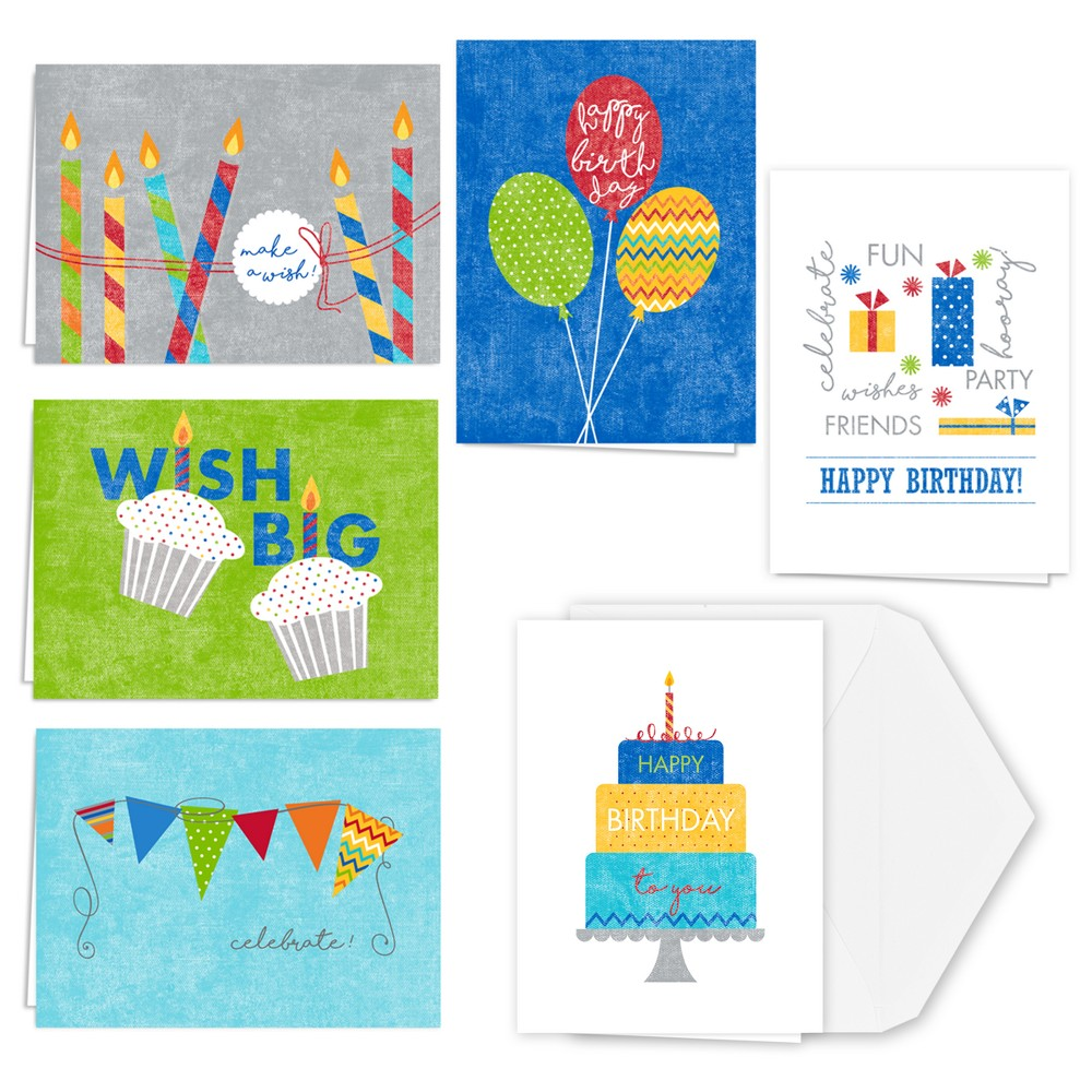 36ct Canopy Street Big Wishes Birthday Note Card, Multi-Colored