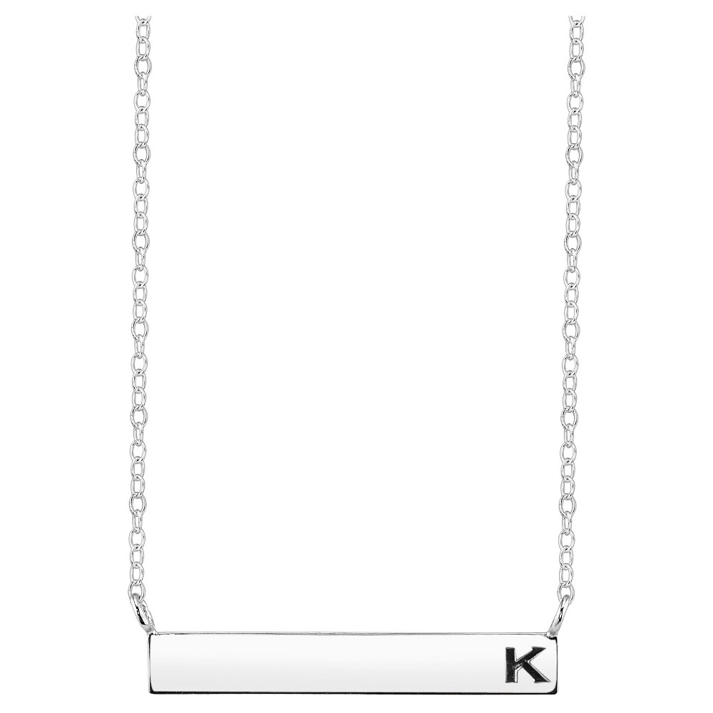 Women's Sterling Silver Station Bar Initial' K' Necklace - Silver (18.15), K