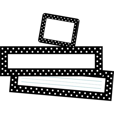 Black & White Dots Name Tag, Bulletin Board Signs and Name Plate Set - Barker Creek