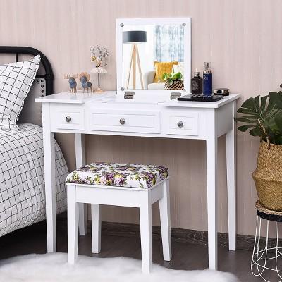 Costway Vanity Dressing Table Flip Top 7 Compartments Makeup Desk