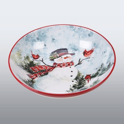 128oz Earthenware Watercolor Snowman Serving Bowl Red - Certified International