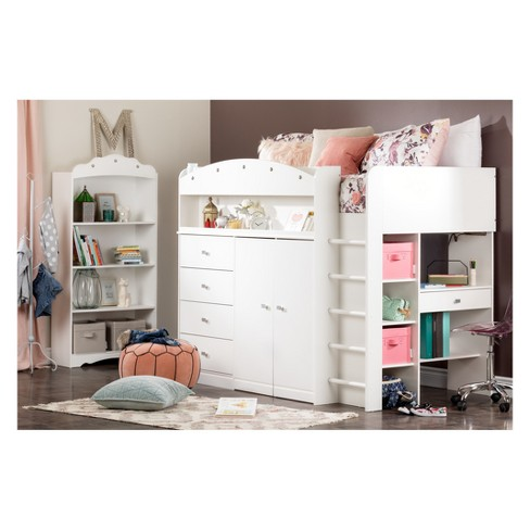 Tiara Loft Bed With Desk Twin Pure White South Shore Target