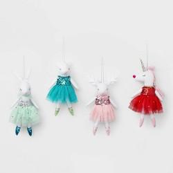 4ct Ballerina Animals Christmas Ornament Set Blue Green Red and Pink - Wondershop™
