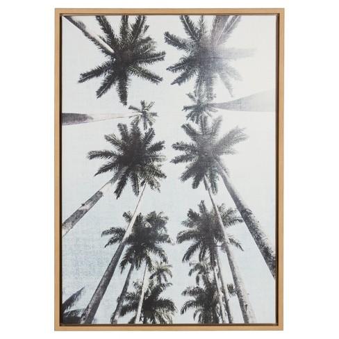 Palm Trees Framed Canvas Art Natural 33 X23 Uniek