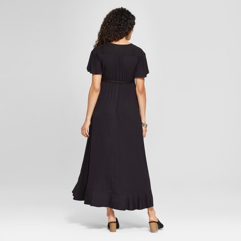 f29458f7db Maternity Short Sleeve Faux Wrap Belted Knit Dress - Isabel Maternity By  Ingrid   Isabel™ Black   Target