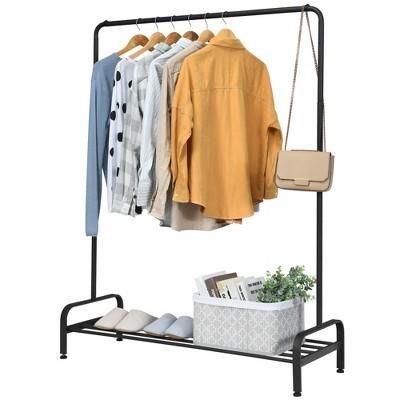Costway Industrial Metal Garment Rack Heavy Duty Floor Cloth Rack w/ Shoe Storage Shelf