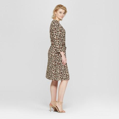 c6501c4b19816 Women s Plus Size Leopard Print 3 4 Sleeve Wrap Midi Dress - Ava   Viv™ Tan    Target