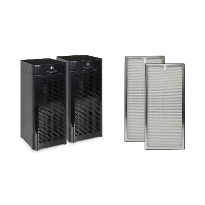 Medify Air MA-40-B2 HEPA-H13 Filter Tower Air Purifier (2 Pack) w/Medify Air MA-40 Home Air Purifier H13 HEPA Replacement Filter (2 Pack)