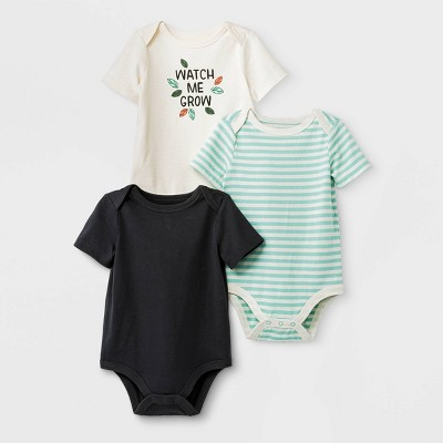 Baby Boys' 3pk Short Sleeve Bodysuit - Cat & Jack™ Black/Green/Cream 24M