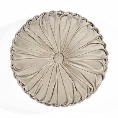 """15"""" Pleated Round Throw Pillow Ivory - Lush Décor"""