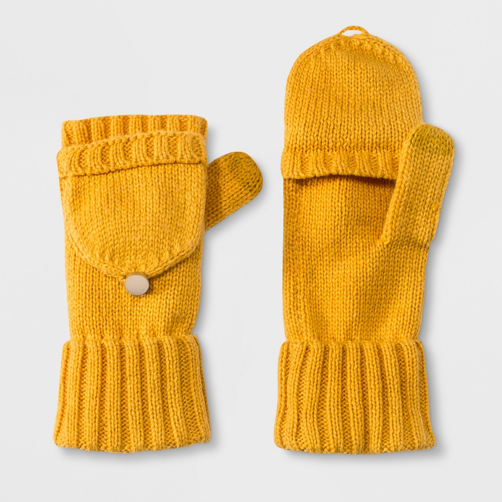 Women's Flip Top Gloves - A New Day Mustard (Yellow)