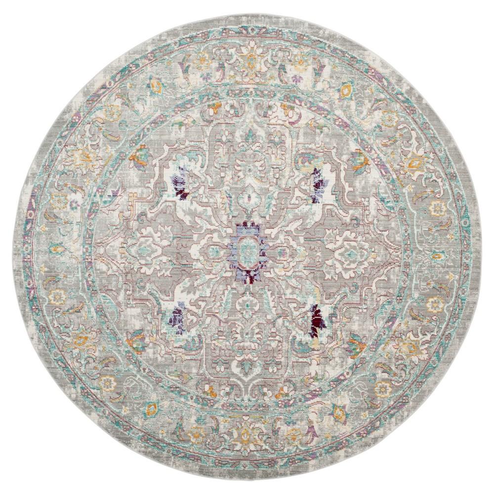 Gray Multi Burst Loomed Round Area Rug 6'7 - Safavieh, Multicolored