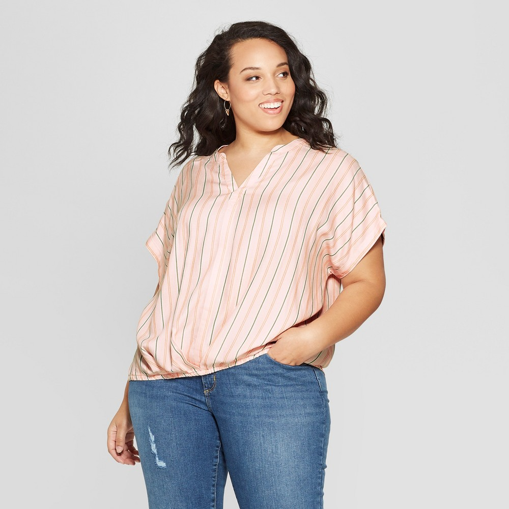 Women's Plus Size Short Sleeve Twist Front Top - Universal Thread Peach 4X, Orange