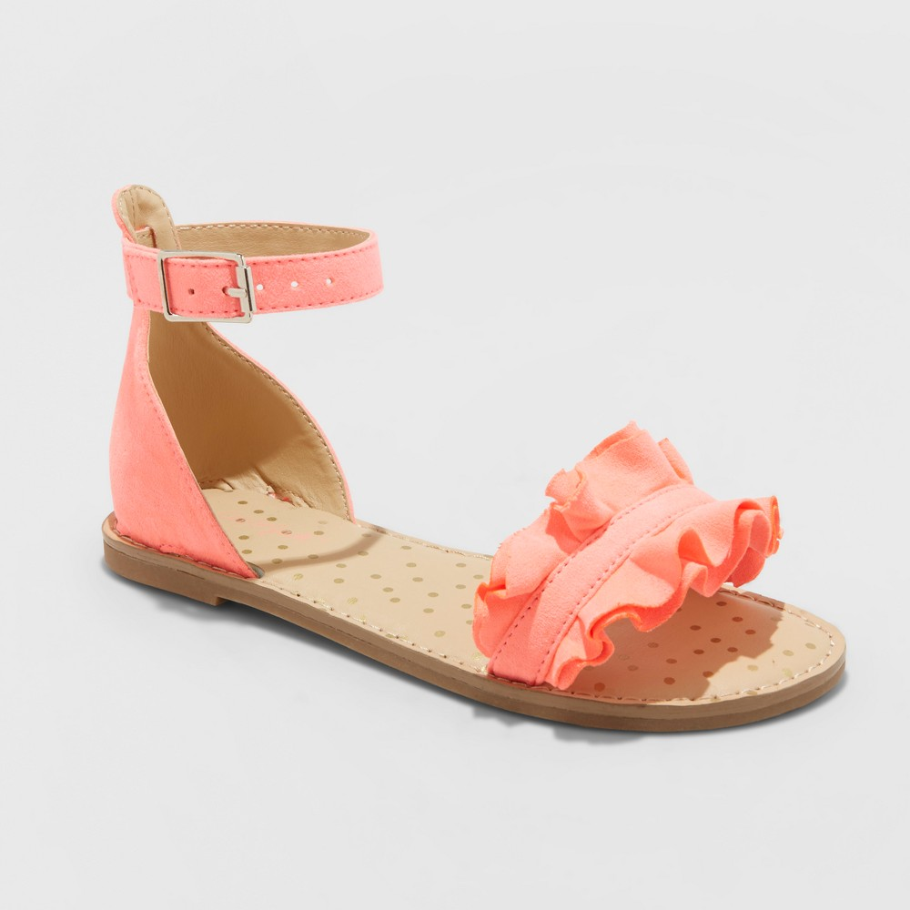 Image of Girls' Gabby Two Piece Ruffle Sandals - Cat & Jack Coral 5, Girl's, Pink