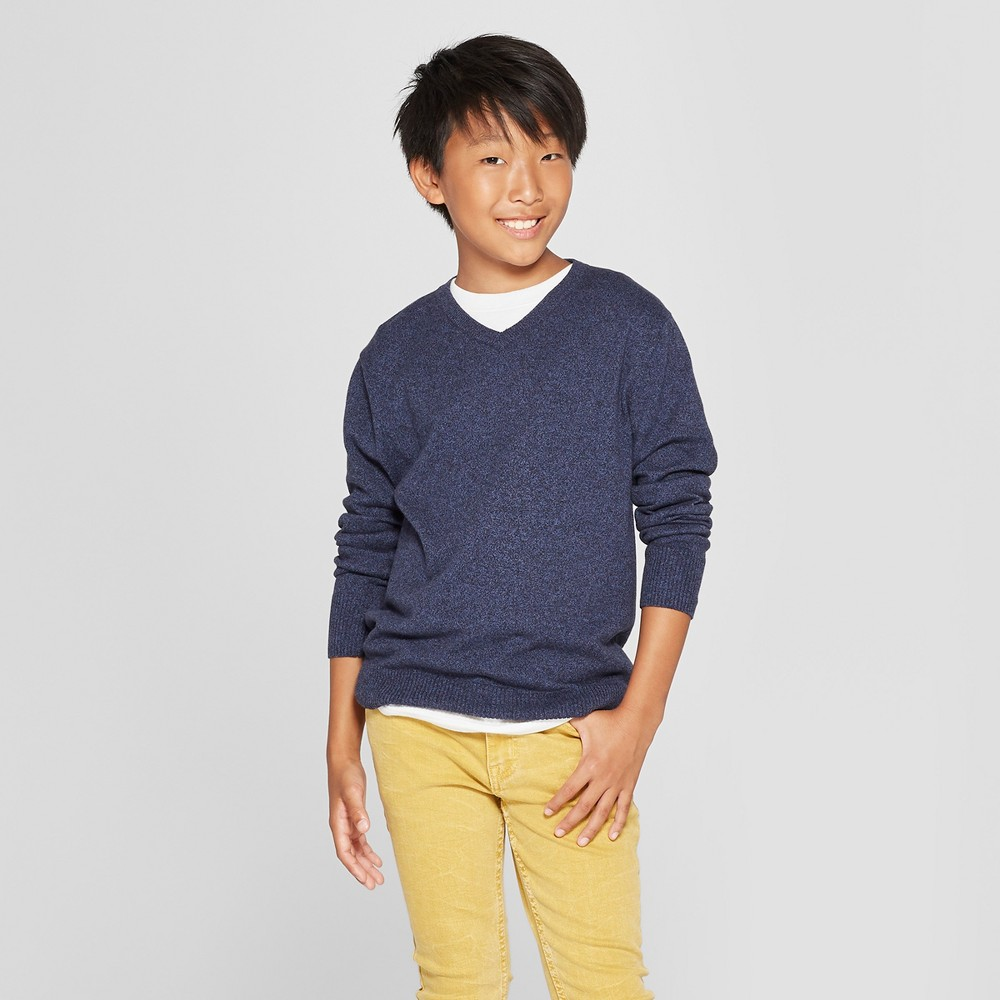 Boys' Long Sleeve Pullover Sweater - Cat & Jack Navy M, Blue