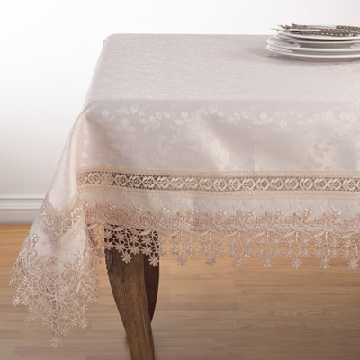 Warm Beige Floral Tablecloth - Saro Lifestyle