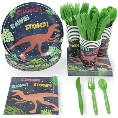 Juvale 24 Set Dinnerware Kids T-Rex Dinosaur for Boys Birthday Party Supplies BPA FREE