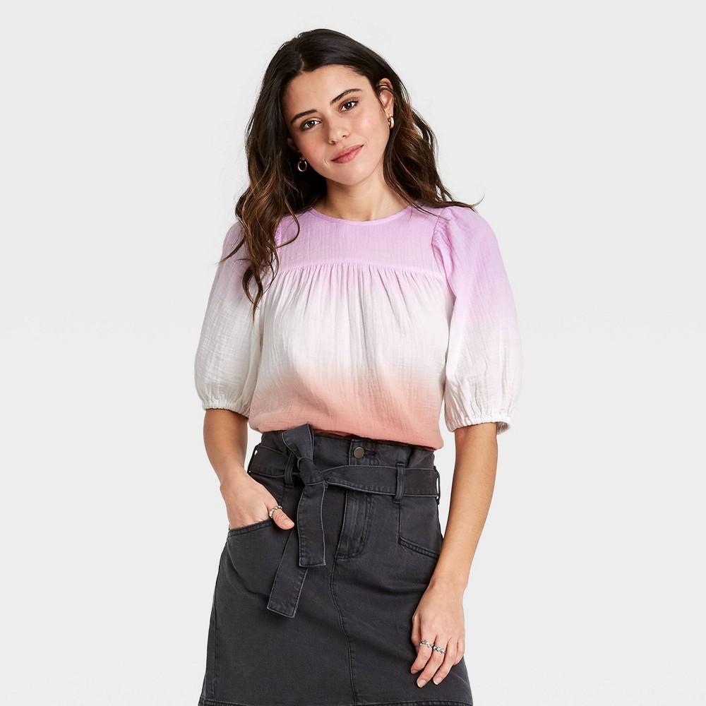 Women 39 S Dip Dye Puff Short Sleeve Gauze Blouse Universal Thread 8482 Purple Xl