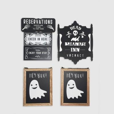 6ct Halloween Wood Signs Black/White - Bullseye's Playground™