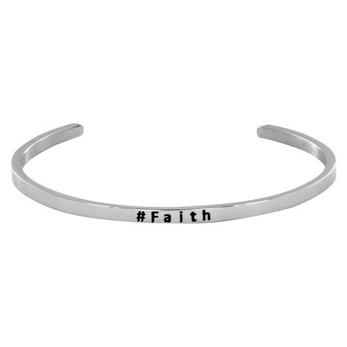 Stainless Steel Stackable 'Faith' Cuff Bangle Bracelet - image 1 of 3