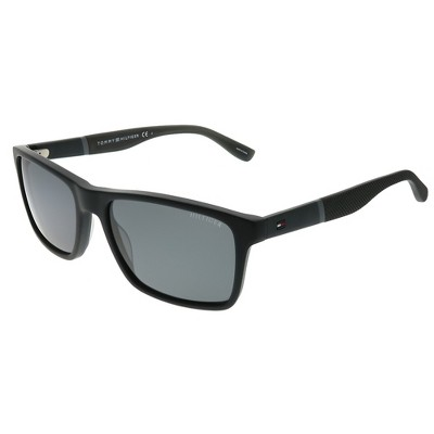 Tommy Hilfiger TH 1405/S KUN P9 Unisex Rectangle Sunglasses Black with Grey Lens 56mm