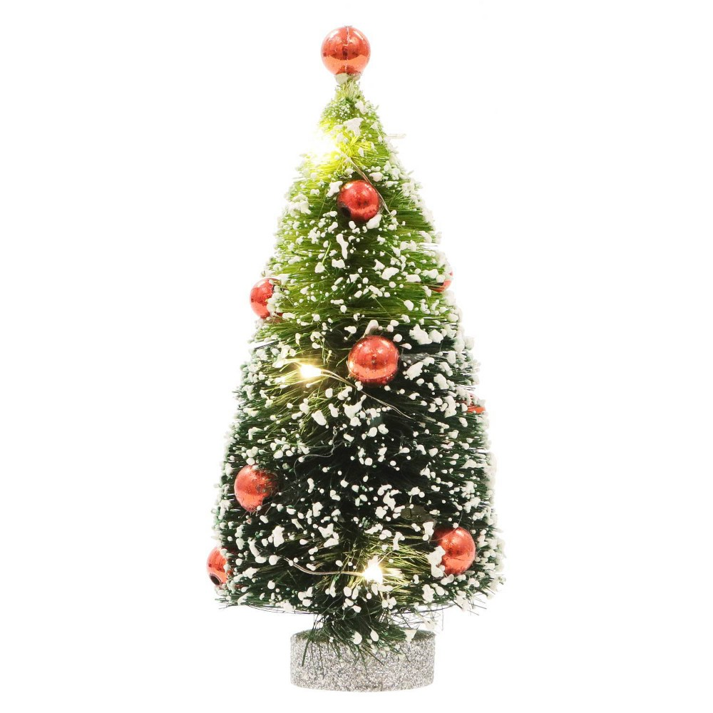 Image of Philips Christmas LED Brush Tree Red Ornaments Battery Operated Novelty Sculpture Lights Warm White
