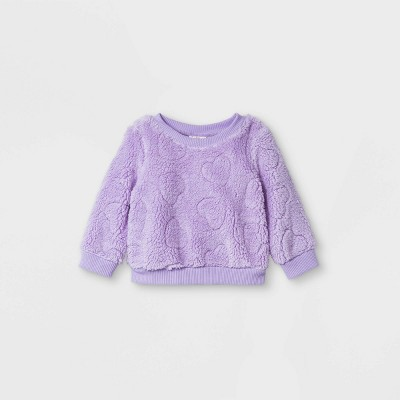 Baby Girls' Sparkle Heart Shirt Jacket - Cat & Jack™ Purple 3-6M